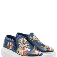 Alexander McQueen - Embroidered Leather Slip-Ons