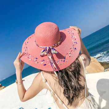 Women Summer Sun Caps Floppy Wide Brim Foldable Ribbon Bowknot Straw Hat Solid Color Breathable Beachwear Sunshade Hats