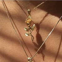 Summer Popular Women Retro Classic Rose Necklace Long Paragraph Multi-Layer Metal Cross Necklace Collarbone Chain I12207-1