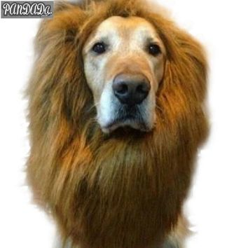 panDaDa Puppy Halloween Pet Wig Fancy Faux Fur Large Breed Dog Become Fake Lion New Neckerchief Costume 80cm