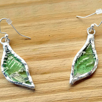 Stained Glass Leaf Earrings, Green Glass Earrings, Fall Earrings, Glass Jewelry, Dangle Drop Earrings, Custom Earrings, Fall Leaves