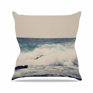 "Sylvia Coomes ""Ocean Blue 1"" Blue Coastal Outdoor Throw Pillow"