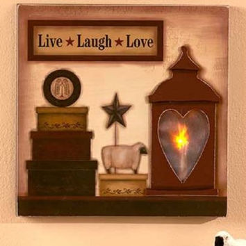 Wall Art Country Lighted Wood Rustic Cabin Live Love Laugh Faith Family Friends
