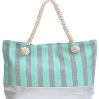 Mint Striped Tote