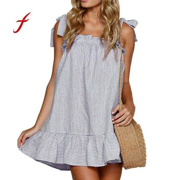 Backless striped linen Off Shoulder Dress