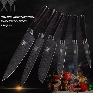 XYj Damascus Vein Stainless Steel Knife Sets 3.5+5+5+7+8+8 Inch Paring Utility Santoku Chef Slicing Kitchen Knife Wood Handle