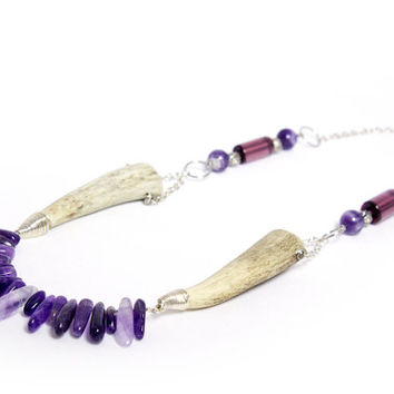 Amethyst and Deer Antler Statement Necklace