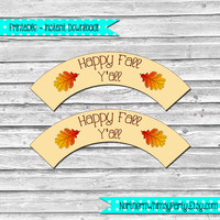 Happy Fall Y'all Printable Cupcake Wrapper Set –  DIY printable party supplies – autumn cupcake decorations - INSTANT DOWNLOAD