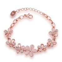MLOVES Women's Delicate Fresh Style Diamanted Opal Flower Bracelet