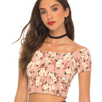 Maribelle Off The Shoulder Crop in Daisy Ribbon Pink by Motel