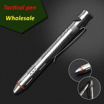 Multi-functional Stainless Steel Whistle Tactical Pen Self defense Outdoors attack tool