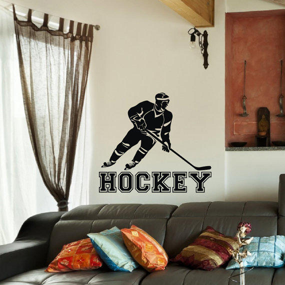 Hockey wall decal sports vinyl decals from coolvinyldesign on for Teen boy wall decor