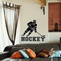 Hockey Wall Decal Sports Vinyl Decals Hockey Player Gift Stickers Nursery Boys Room Teen Boy Room Decor Wall Art Hockey Stick Decor 0083