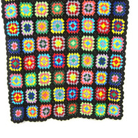Small Lap Blanket Retro 70s Afghan blanket throw Rainbow Granny squares Vintage grandma home decor MOD Hipster Dorm Apartment blanket