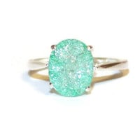 Green Crackled Quartz Ring, Sterling Silver Setting, Oval Stone, Low Profile Ring