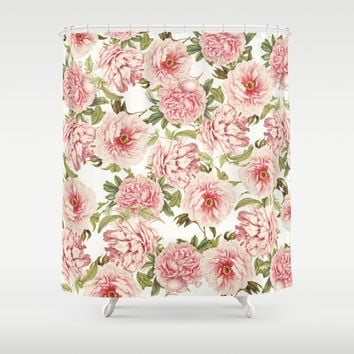 old fashioned peonies Shower Curtain by Sylvia Cook Photography
