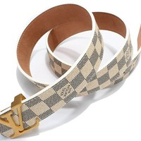 "Fashion Belt Classic White Chess Grid Belt With Gold Buckle 38-40""(120cm)"