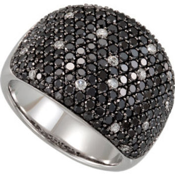 14K White 3 CTW Black & White Diamond Pavé Ring