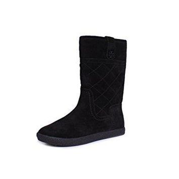 Tory Burch Alana Suede Shearling Quilted Boots In Black