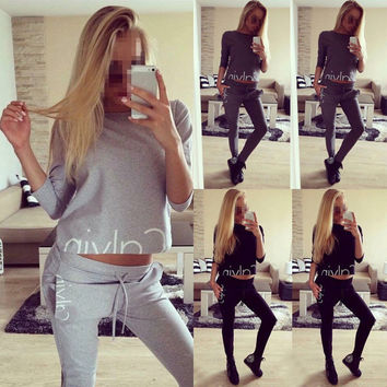 Fashion Women Set Tracksuit Hoodies Long Sleeve Sweatshirt Pants Sets Wear Casual Suit Size 6-14