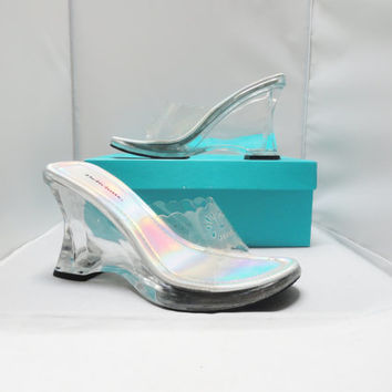 Vintage Shoes 90s Chunky Clear Wedge Platform Iridescent Insole Flower Cut Out CLUB KID Shoes Size 9