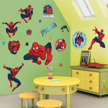 3d cartoon Spiderman Wall Stickers for Kids Rooms Wall decals Home Decor wallpaper Mural For Boys' gift christmas decoration