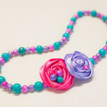 Pearl Bead rosette necklace, Infant Baby Fabric Flower Jewelry, Newborn Girl, photo prop, baby shower gift, hot pink, turquoise, lavender