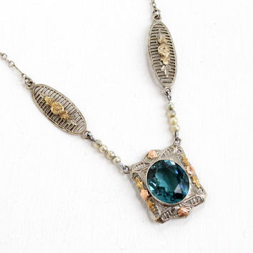 Antique 10k White Gold Art Deco Lavaliere Blue Stone Necklace- Vintage 1920s Seed Pearl Yellow and Rose Gold Fine Flower Motif Jewelry