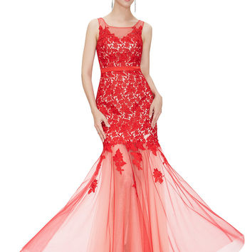 Red  Floral Lace Maxi Dress