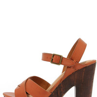 Crossed in the Shuffle Chestnut Brown Platform Sandals