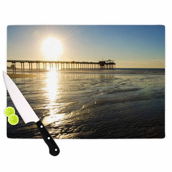"Nick Nareshni ""Sun Over Scripps Pier"" Tan Brown Cutting Board"