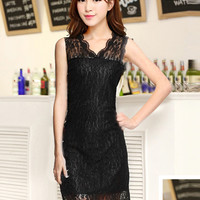 Black Lace V-neck Sleeveless Bodycon Mini Dress