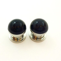 black pearl plugs / 2g, 0g, 00g, 1/2 inch / alternative wedding plugs / pearl gauges / black plugs / bridal gauges / black gauges