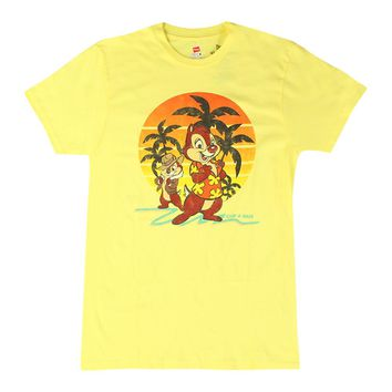 Disney Chip & Dale Hawaiian Style Men's Yellow T-shirt