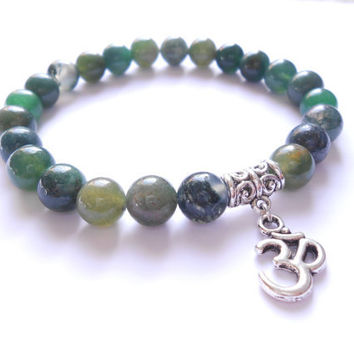 Om Yoga Mala bracelet Namaste jewelry Moss Agate stretch beaded bracelet Yoga Reiki Healing Energy jewelry Unique Birthday Gift