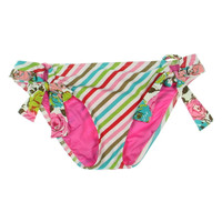 Betsey Johnson Womens Striped Side Tie Swim Bottom Separates