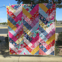 Chevron Quilt with Jennifer Paganelli Fabrics Roses Pink Red Yellow Navy Blue Damask