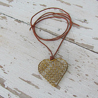 Women Love Necklace,Big Heart, Long Heart Pendant, Golden Wire Charm, Loving Gift, Leather Jewelry, From Husband to Wife, Boho Engagement