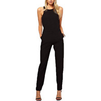 Summer Women Rompers Jumpsuit Solid Bodysuit Sleeveless Crew Neck Long Casual Playsuits Plus Size