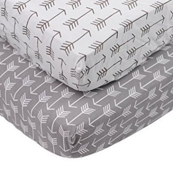 Danha Premium Fitted Cotton Crib Sheet With Arrow Print – Standard Crib Mattress Size – Toddler, Kids Bedding – Tribal Nursery Décor Theme – Ideal Baby Shower Gift For Infant Boys Or Girls
