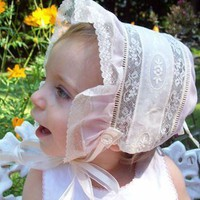 Heirloom Collection Pink Baby Bonnet