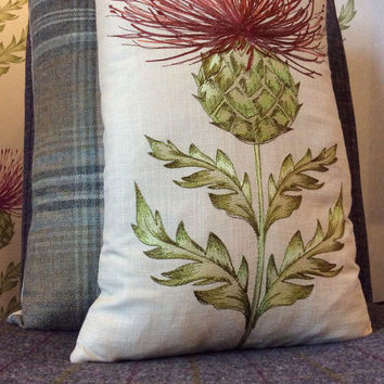 "Handmade Embroidered Thistle Cushion Covers 12"" x 20"""