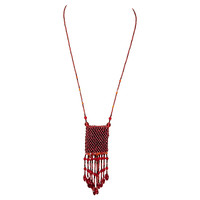 1960s Red Tassel Purse Necklace