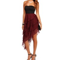 Black/Wine Strapless Asymmetrical Dress