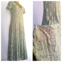 Lace Maxi Dress Light Green Long Vintage Nightgown low cut nylon see through green lace vintage dress, intimate negligee absinthe fairy L