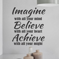 Vinyl Wall Lettering Imagine Believe Achieve Inspirational Sports Religious Quotes Decal