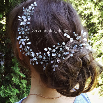 Rose quartz hair vine Bridal Hair Vine Quartz Crown Mermaid Crown Quartz Tiara Light Pink rose gold hair vine babys breath hair Bridal tiara