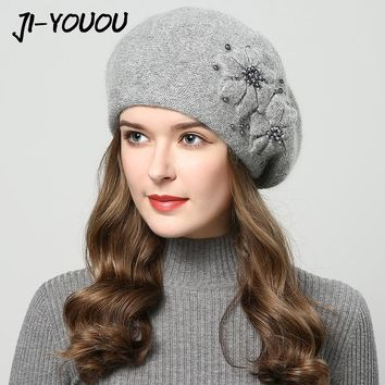 2017 winter hats for women hat with rhinestones rabbit fur hats for women's knitted hat beanie Thicker Women's cap beanies