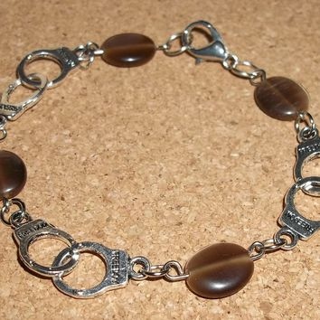 "Handcrafted ""Freedom"" Handcuffs & Cat's Eye Beads Tibetan Silver Bracelet 7 1/4"""
