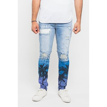 Distressed Airbrushed City Jeans